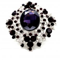Purple Crystal Diamante Ring 12