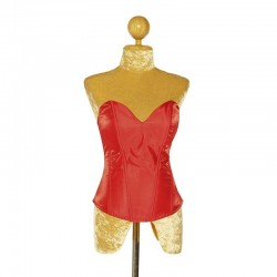 Red Satin Corset with Side Zip Closure and Lace Up Back
