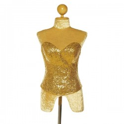 Sequin Corset Side Zip and Lace Up Back Gold