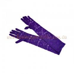 Elbow Length Lace Glove Dark Purple