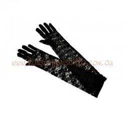 Elbow Length Lace Glove Black
