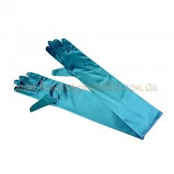 Elbow Length Satin Glove Aqua Blue