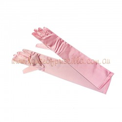 Elbow Length Satin Glove Light Pink