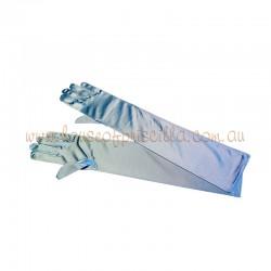Elbow Length Satin Glove Light Blue