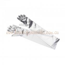 Silver Elbow Length Satin Glove