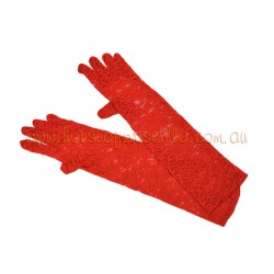 Red Elbow Length Lace Glove