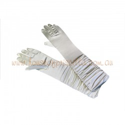Elbow Length Satin Glove Cream