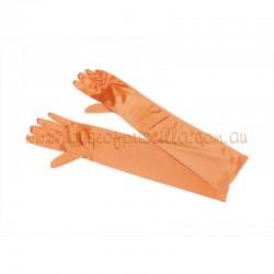 Orange Elbow Length Satin Glove