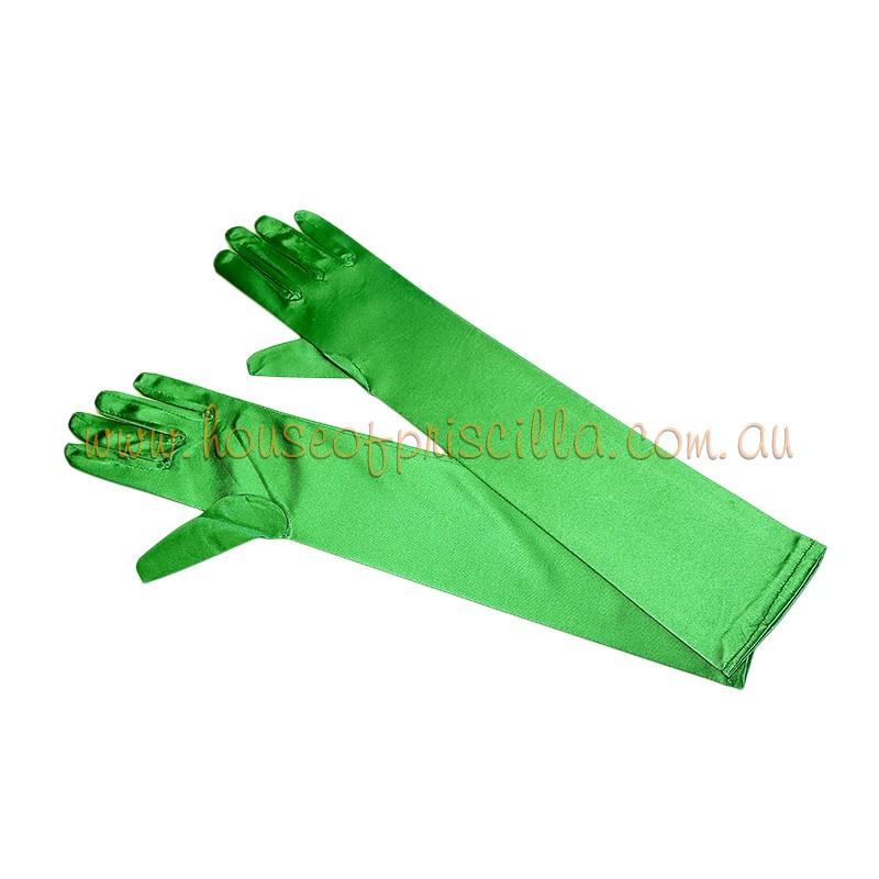 Elbow Length Satin Glove Apple Green