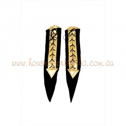 Medium Lace Up Sock Black and Gold