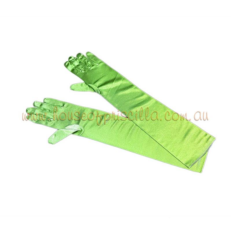 Elbow Length Satin Glove Lime Green