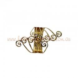 Gold Plated Metallic Hinge Cuff Bracelet with Diamante