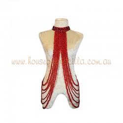 Underarm Burlesque Plastic Beaded Choker Red