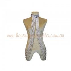 Underarm Burlesque Plastic Beaded Choker White Pearl