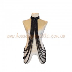 Underarm Burlesque Plastic Beaded  Choker Black