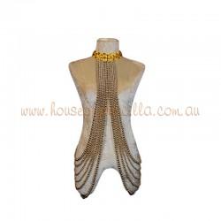 Underarm Burlesque Plastic Beaded Choker Gold