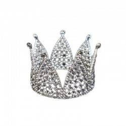 Mini Crown Silver with Clear Diamante