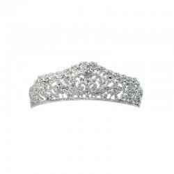 Ornate Tiara Silver with Clear Diamante