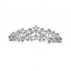 Victorian Tiara Silver with Square Cut Clear Diamante