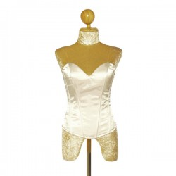 White Satin Corset with Side Zip Closure and Lace Up Back
