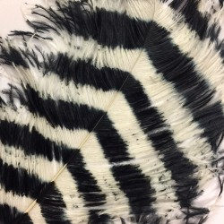 Black and White Flik Mix Bamboo Ostrich Feather Fan