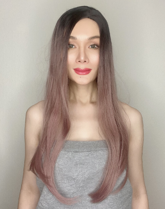 Jojo Light Pink Ombre Long Synthetic Wig