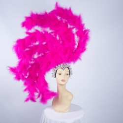 Hot Pink Feathered Gatsby Headpiece