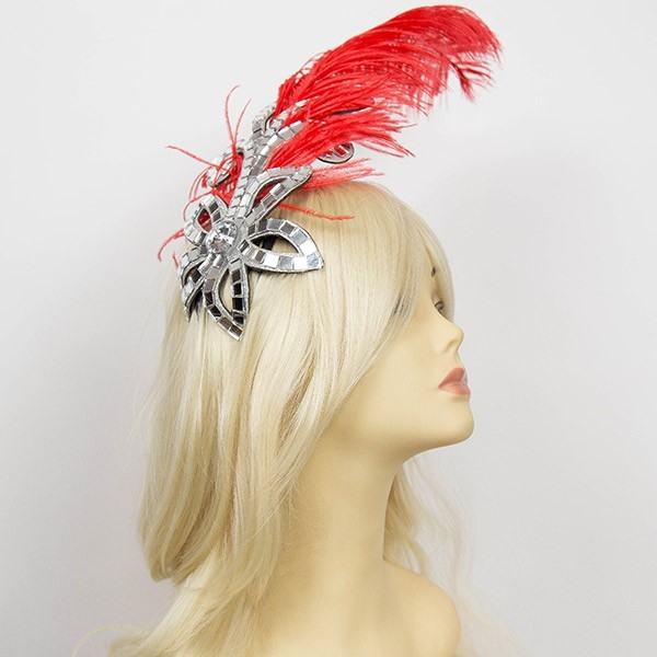 Mirrored Flower Hair Clip with Feather