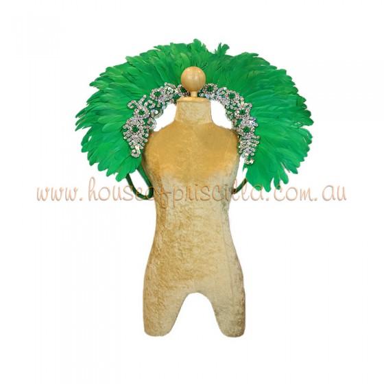 Dark Green Duck Feather Collar with Sequin Motifs