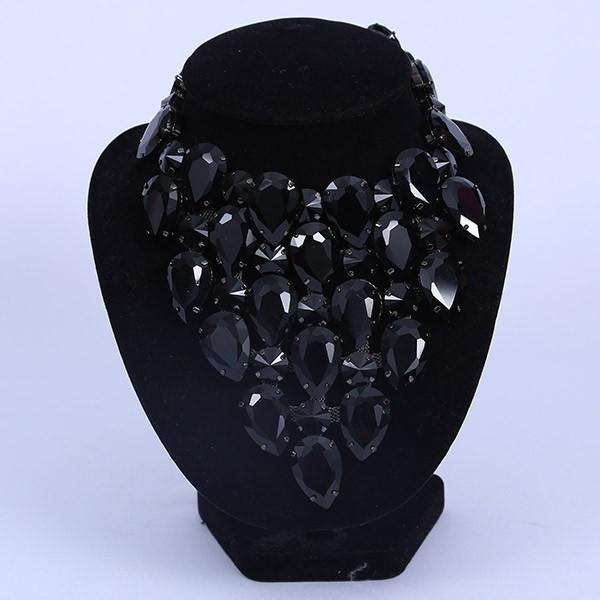 Black Crystal Diamante Necklace 2