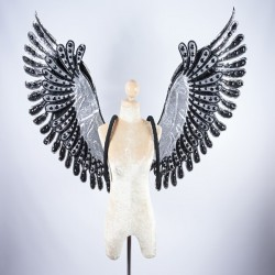 Black Glitter Wings with Trim