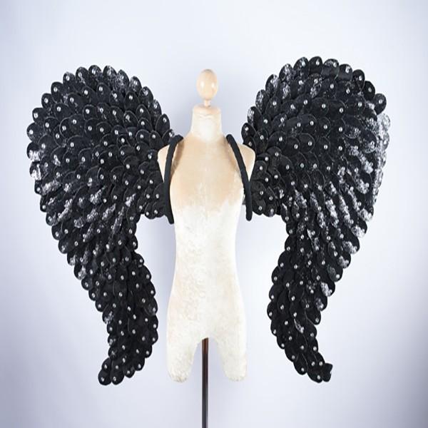 Glitter Heart Shape Wings with Stone Trim