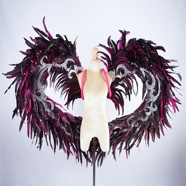Pink & Black Feathered Wing with Silver Trim