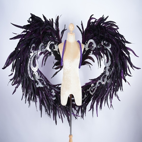Purple & Black Feathered Wings with Silver Trim