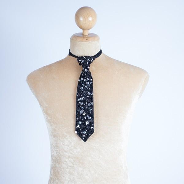 Sequin Tie Black & Silver