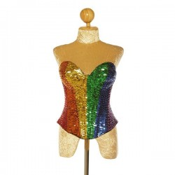 Custom Odder Sequin Hand Beaded Corset Rainbow