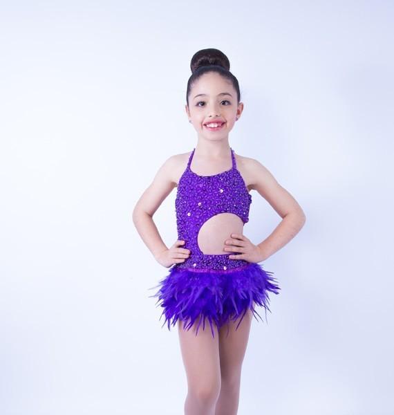Lucy Leotard and Feather Skirt Set Dark Purple