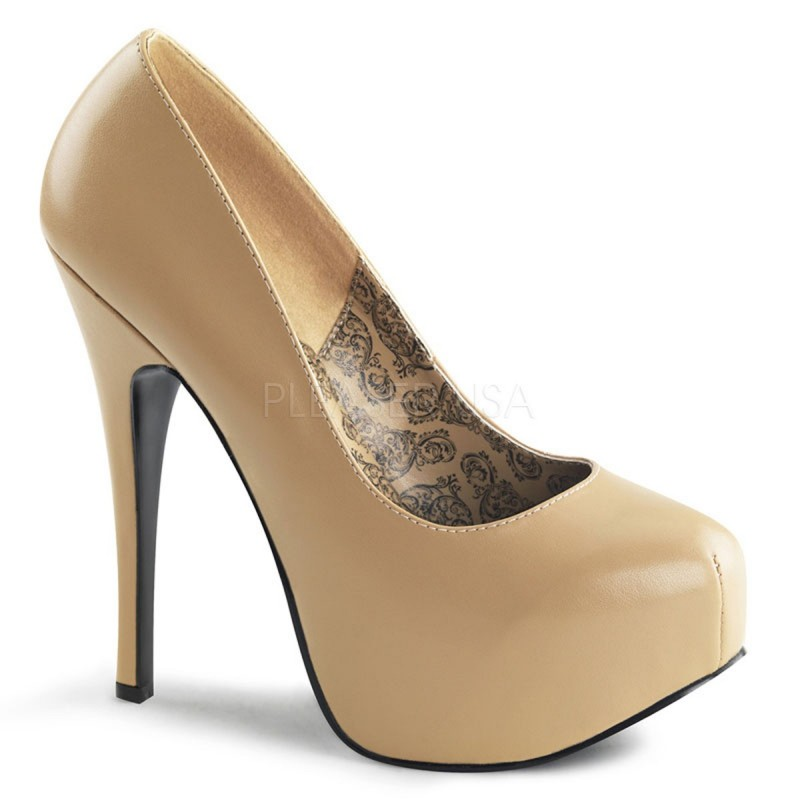 Pleaser Bordello Teeze 06 Platform Pump Nude