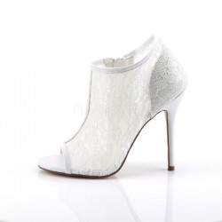 Pleaser Fabulicious Amuse 56 Open Toe Bootie Ivory