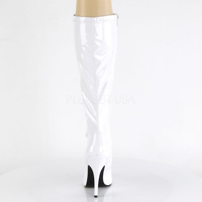 Pleaser Seduce 2000 Stretch Boot White Patent