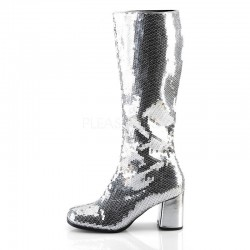 Pleaser Spectacular 300 Sequin Boot Silver