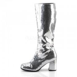 Spectacular 300 Boot Silver Sequin Bordello
