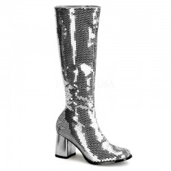 Pleaser Spectacular 300 Boot Silver Sequin