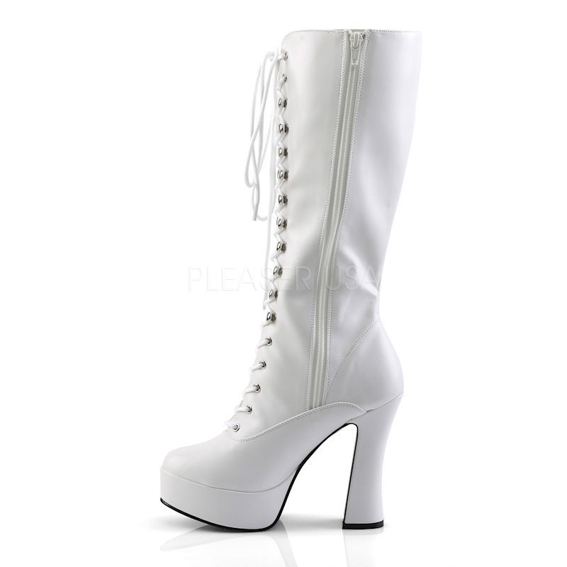 Pleaser Electra 2020 Knee High Platform Boot White Patent