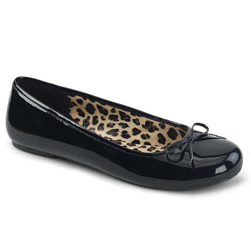 Pleaser Pink Label Anna 01 Flat Shoe Black Patent