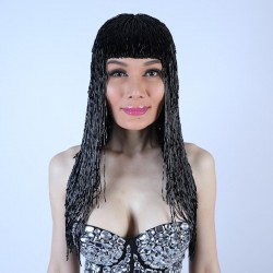 Black Bugle Bead Wig