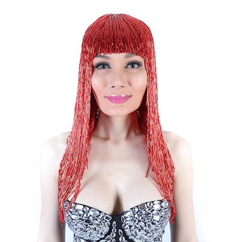 Bugle Bead Wig Red