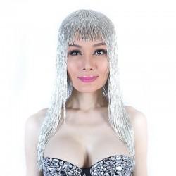 Silver Bugle Bead Wig