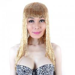 Gold Bugle Bead Wig