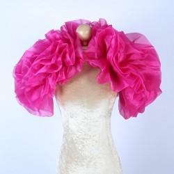 Hot Pink Fluffy Crystal Organza Boa Shrug